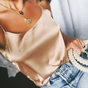 Tops - 🆕Zooey Taupe Satin Cami Tank Top